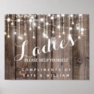 Poster signe de toilettes de dames - panier d'articles de