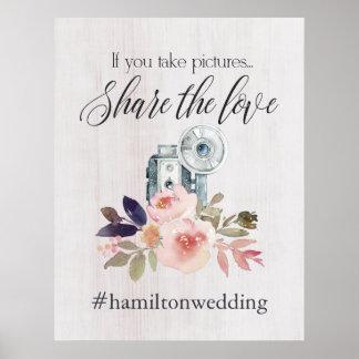 Poster Signe d'instagram de hashtag de mariage