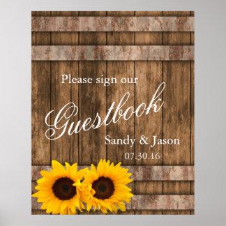 Poster Signe en bois | Zazzle de Guestbook de grange