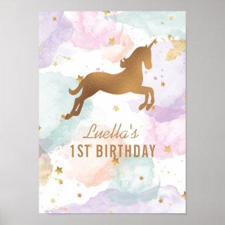 Poster Signe en pastel de fête d'anniversaire de licorne