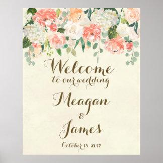 Poster signe floral d'affiche d'accueil de mariage de