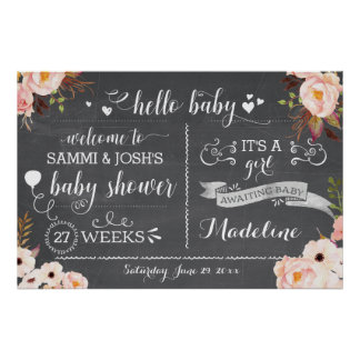 Poster Signe floral de baby shower de bébé rustique de