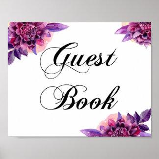 Poster Signe floral de livre d'invité. Affiche pourpre de