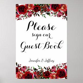 Poster Signe floral de livre d'invité de mariage