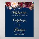 Poster Signe floral de mariage d'accueil de bleu marine