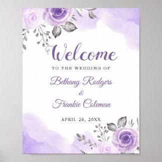 Poster Signe floral de mariage d'aquarelle pourpre en