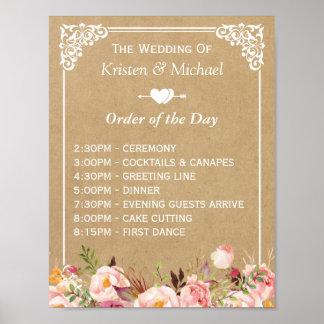 Poster Signe floral de mariage de Papier d'emballage pour