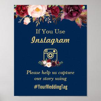 Poster Signe floral de mariage d'Instagram de bleu marine