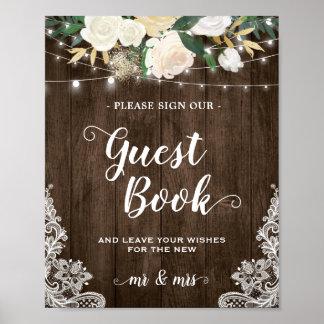 Poster Signe floral en bois rustique de mariage de
