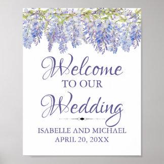 Poster Signe floral pourpre bleu de mariage d'accueil