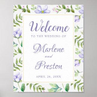 Poster Signe floral pourpre rêveur de mariage de ressort