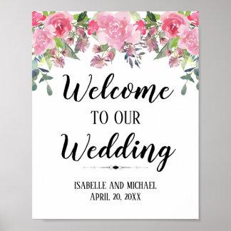Poster Signe floral rose de mariage d'accueil d'aquarelle