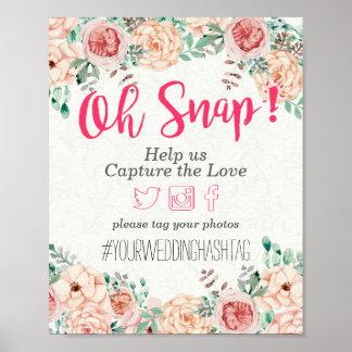 Poster Signe instantané floral de mariage de Hashtag