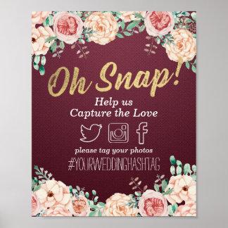 Poster Signe instantané floral rouge de mariage de
