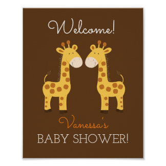 Poster Signe jumeau de baby shower de jumeaux de girafes