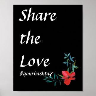 Poster Signe l'épousant floral de Hashtag