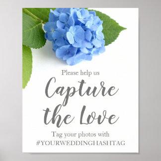 Poster Signe l'épousant floral de Hashtag d'hortensia