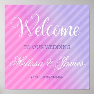 Poster Signe lilas élégant de réception de rose en pastel