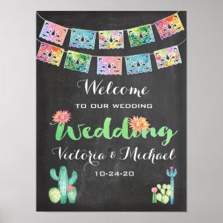 Poster Signe mexicain de mariage de bannière de cactus