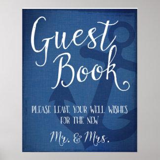 Poster Signe nautique d'ancre de mariage de livre