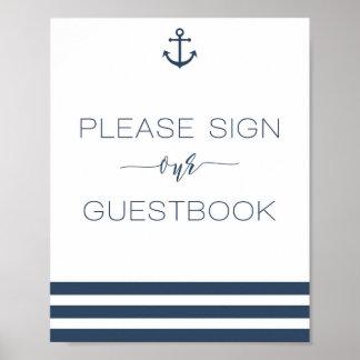 Poster Signe nautique de mariage notre livre d'invité