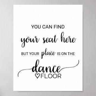 Poster Signe noir de Dance Floor de carte d'endroit de