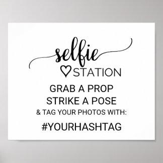 Poster Signe noir simple de station de Selfie de