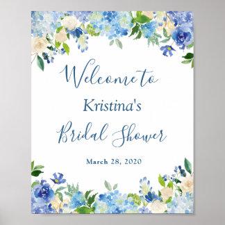 Poster Signe nuptiale chic floral de douche d'hortensia