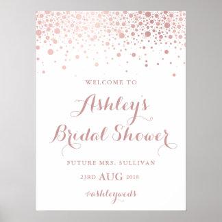 Poster Signe nuptiale de douche de confettis roses de