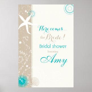 Poster Signe nuptiale de douche de plage turquoise ene