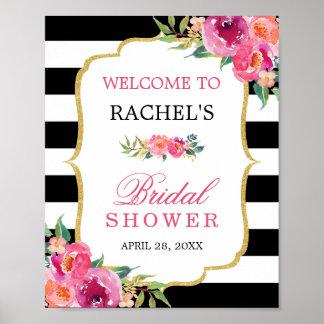 Poster Signe nuptiale de douche de rayures noires