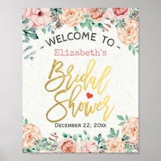 Poster Signe nuptiale floral de douche d'aquarelle
