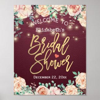 Poster Signe nuptiale floral de douche d'aquarelle rouge