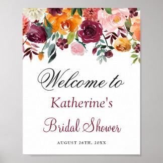 Poster Signe nuptiale floral rose orange de douche de