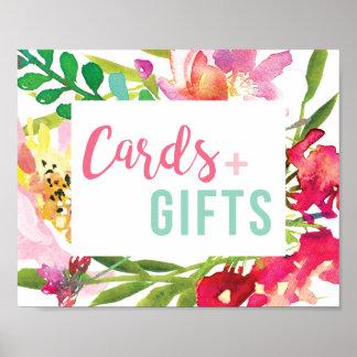 Poster Signe nuptiale floral tropical de cartes et de