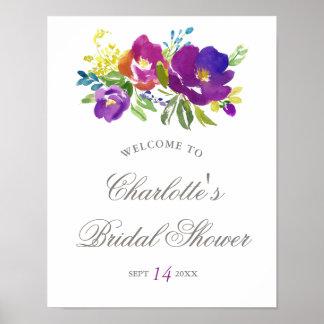 Poster Signe nuptiale floral violet romantique de douche