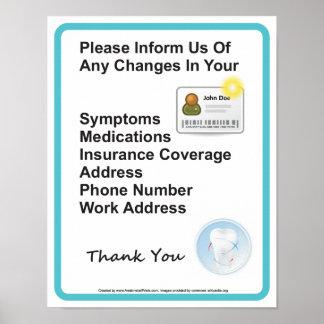 Poster Signe patient de mur de l'information de bureau de