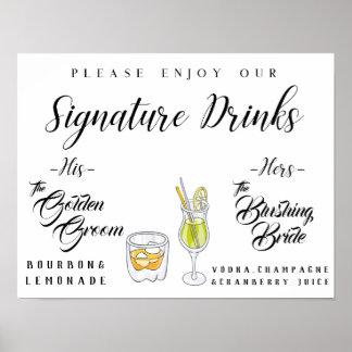 Poster Signe personnalisé de boissons de signature