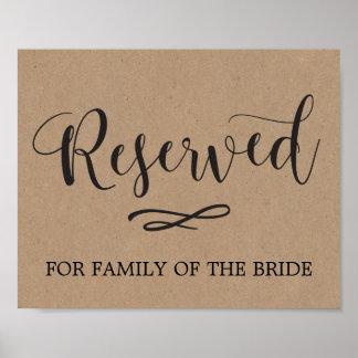 Poster Signe réservé de mariage d'allocation des places