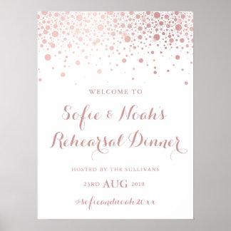 Poster Signe rose de dîner de répétition de confettis de
