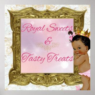 Poster Signe rose royal africain de princesse bonbons