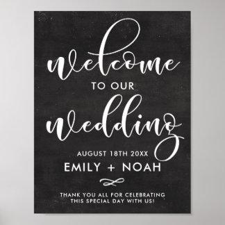 Poster Signe rustique de mariage d'accueil de manuscrit