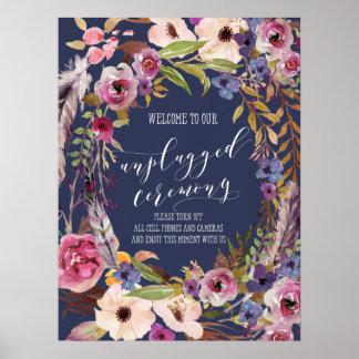 Poster Signe rustique de noce de programme de mariage