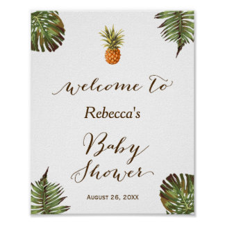Poster Signe tropical de baby shower d'ananas de feuille