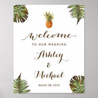 Poster Signe tropical de mariage de Luau d'ananas de