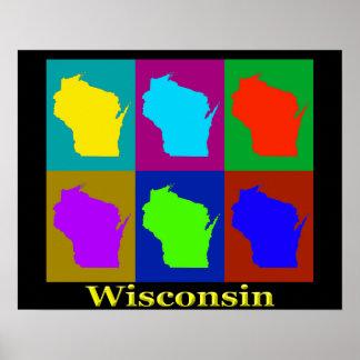 Poster Silhouette de carte du Wisconsin