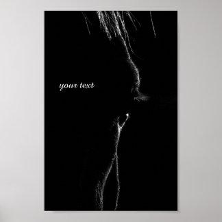 Poster Silhouette de cheval noir et blanc