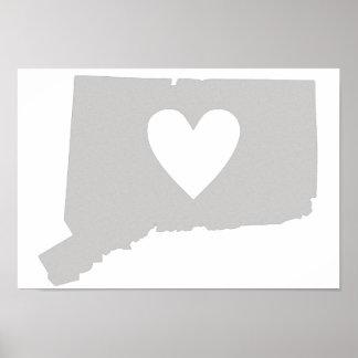 Poster Silhouette d'état du Connecticut de coeur