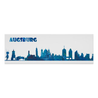 Poster Silhouette d'horizon d'Augsbourg Allemagne