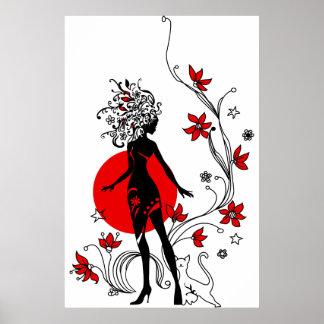 Poster Silhouette élégante de femme élégante avec le chat